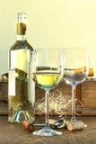 Botella y vidrios del vino blanco con el embalaje Foto de archivo