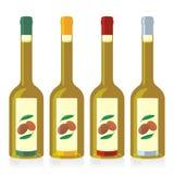 Botellas aisladas del aceite de oliva fijadas Fotografía de archivo