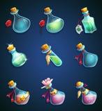 Botellas alquímicas determinadas de la historieta ilustración del vector