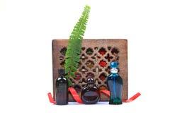 Botellas aromáticas del petróleo y de perfume Imágenes de archivo libres de regalías