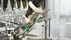 Botellas a cámara lenta, de cristal en la línea automática del transportador en la fábrica del champán o del vino Planta para el  metrajes
