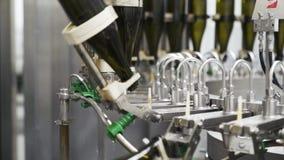 Botellas a cámara lenta, de cristal en la línea automática del transportador en la fábrica del champán o del vino Planta para el  almacen de video
