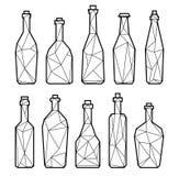 Botellas, champán y vino poligonales del alcohol Fotografía de archivo libre de regalías