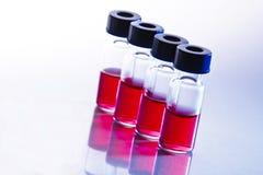 Botellas científicas de la muestra Imagen de archivo libre de regalías