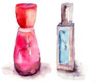 Botellas coloreadas del esmalte de uñas Fotos de archivo