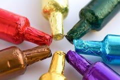 Botellas coloridas del chocolate Fotografía de archivo