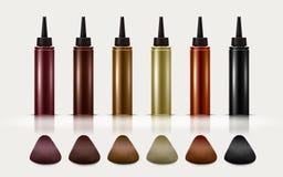 Botellas coloridas del tinte de pelo stock de ilustración