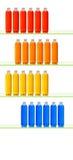 Botellas coloridas en estantes Fotografía de archivo
