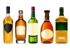 Botellas coloridas realistas del alcohol stock de ilustración