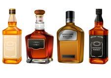 Botellas coloridas realistas del alcohol ilustración del vector