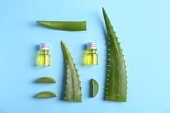 Botellas con aceite esencial del áloe y hojas frescas Fotos de archivo libres de regalías
