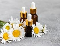 Botellas con aceites esenciales con las flores de la manzanilla Fotos de archivo