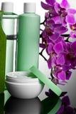 Botellas con crema Imágenes de archivo libres de regalías