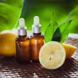Botellas con el aceite de limón, fruta fresca entera y media en un natural Fotografía de archivo