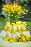 Botellas con el jarabe de la flor del diente de león Imágenes de archivo libres de regalías