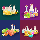 Botellas con el sistema esencial orgánico de la barra del aceite y del jabón del aroma Fotografía de archivo
