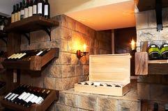 Botellas con el vino Foto de archivo libre de regalías