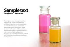 Botellas con estilo de la farmacia, aisladas Imágenes de archivo libres de regalías