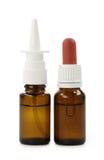 Botellas con gotas y aerosol Imagenes de archivo