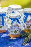 Botellas con la jalea del pino y del limón Foto de archivo