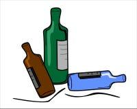 Botellas con las escrituras de la etiqueta Imagen de archivo libre de regalías