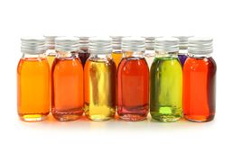 Botellas con petróleos esenciales Foto de archivo