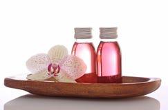 Botellas con petróleos esenciales Imagen de archivo libre de regalías