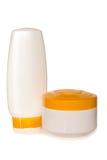 Botellas cosméticas Foto de archivo
