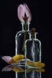 Botellas cristalinas claras con los tulipanes Imagenes de archivo