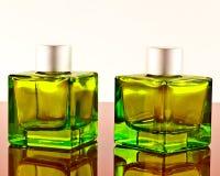 Botellas cuadradas verdes Foto de archivo libre de regalías