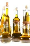Botellas de aceite de oliva virginal adicional Fotografía de archivo