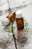 Botellas de aceite esencial del tomillo Fotos de archivo