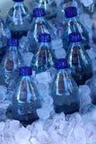 Botellas de agua en hielo Foto de archivo