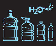 Botellas de agua fijadas Foto de archivo