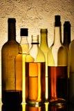 Botellas de alcohol fotografía de archivo libre de regalías