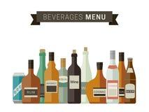Botellas de bebidas alcohólicas Imagenes de archivo