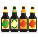 Botellas de cerveza aisladas fijadas Fotos de archivo libres de regalías