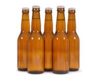 Botellas de cerveza de Brown Foto de archivo