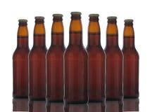Botellas de cerveza de Brown sobre blanco fotos de archivo libres de regalías