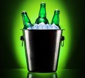 Botellas de cerveza en cubo de hielo fotografía de archivo