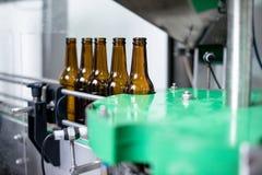 Botellas de cerveza en la banda transportadora en planta de embotellamiento foto de archivo libre de regalías