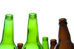 Botellas de cerveza vacías Imágenes de archivo libres de regalías