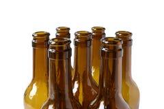 Botellas de cerveza vacías de cerveza dorada Fotografía de archivo
