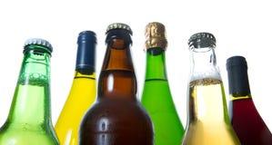 Botellas de cerveza y de vino Fotografía de archivo libre de regalías