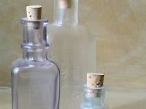 Botellas de cristal antiguas Foto de archivo libre de regalías