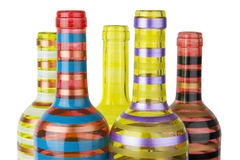 Botellas de cristal coloridas Foto de archivo libre de regalías