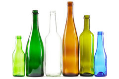 Botellas de cristal de colores mezclados Fotos de archivo