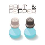 Botellas de cristal de la sal y de la pimienta en estilo isométrico Foto de archivo