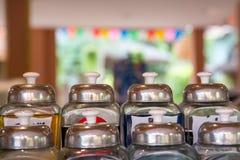 Botellas de cristal del jarabe Foto de archivo