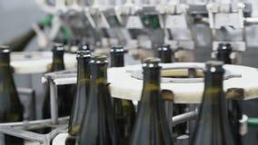 Botellas de cristal en la línea automática del transportador en la fábrica del champán o del vino Planta para embotellar las bebi almacen de video